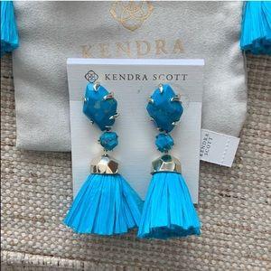 Kendra Scott Jewelry - $125 Kendra Scott DENISE Raffia Earrings in Blue